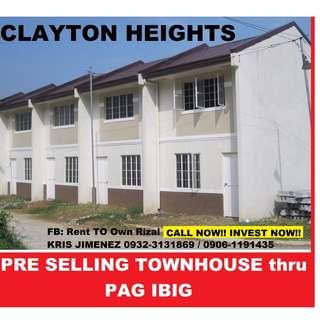 Clayton Heights PINAKAMURANG PAG IBIG HOUSING sa RIZAL.INVEST NA!!FREE TRIPPING