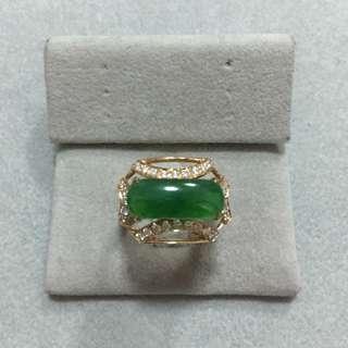 天然翡翠A貨18K金鑲鑽戒指