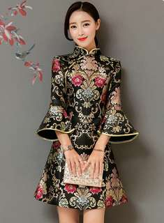 Cheongsam: Floral Embroidered Cheongsam Flare Sleeve Dress (S / M / L / XL) - OA/KKE011705