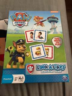 Almost new paw patrol matching game