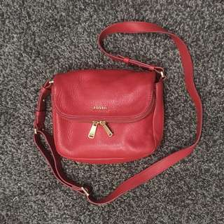 Fossil Preston Crimson Red Sling Bag