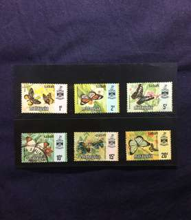 1977 Sabah State Butterflies Series Used. 6v Complete Harrison Printing
