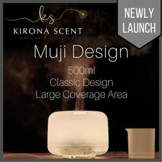 [SPECIAL SALE] Muji Style 500ml. Ultrasonic Humidifier / Aroma Diffuser / Essential Oil. Free 30ml EO. Choose your favourite scent.