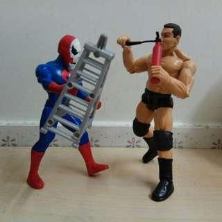 The Rock Dwayne Johnson Rey Mysterio 6吋半摔角手公仔兩個 WWE Figures