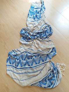 Cotton on頸巾 白色 藍色 薄頸巾