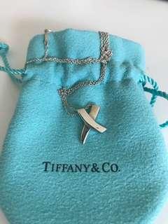 🚚 二手Tiffany & Co 畢卡索系列 不對稱X型 項鍊 草寫 925純銀