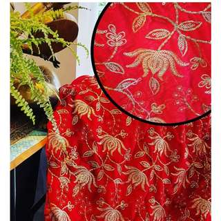 Velvet Embroidered Fabric in Chilli Red