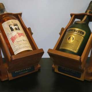 1960s Martell+White Horse (3.78L Empty 50cm) Display Bottle+Teak Wood stand. Set price $150.
