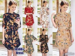 Chinese collar button up floral Dress