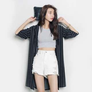 【H.BANDWAGON】韓國時尚百搭直條紋七分袖雪紡外套 防曬 薄外套 韓製❤️黑現貨