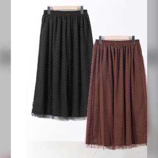 日本代購 半身長裙 波點裙