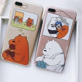 手機殼IPhone6/7/8/plus/X : WeBareBears裸熊全包邊透明軟殼