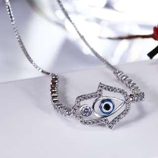 Devil eyes Design Rhodium Adjustable Bracelet