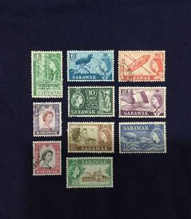 Sarawak QE 2 Definitive Short Set 10 Values (Watermark Unchecked)