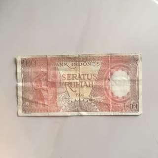 Uang Kuno 100 Rupiah Tahun 1964