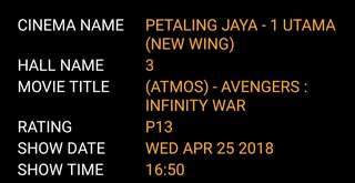 Avengers Infinity War Movie tickets (ATMOS)