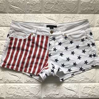 Forever 21 USA flag distressed shorts
