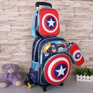 3 in 1 Kids Character Trolley School Bag - CAPTAIN AMERICA