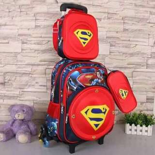 3 in 1 Kids Character Trolley School Bag - SUPERMAN