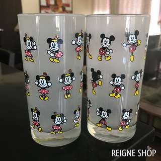 MICKEY AND MINNIE MOUSE TALL GLASS SET