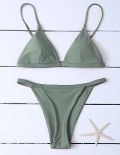 Zaful Bikini Size Large Greyish-Green