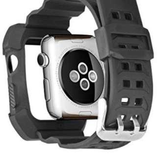 順豐包郵 Apple Watch All-in-one Silicone Watch Band 38/42mm Black Colour 蘋果黑色一體殼超強保護錶帶錶殼 38/42mm