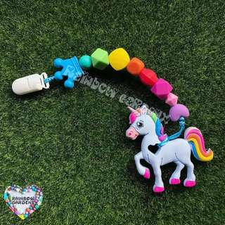 Handmade Rainbow Pacifier Clip + Blue Unicorn teether combo
