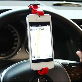 Car Steering Wheel Mobile Phone Mount Holder Buckle Socket Cellphone Vertical