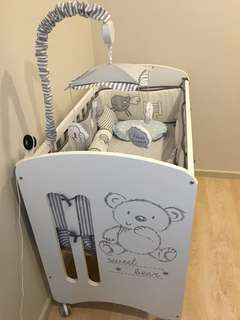 Micuna Sweet Bear Baby Cot with 2 bedding sets