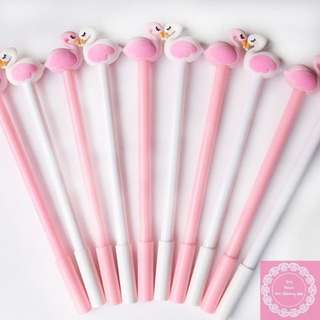 2pcs Beautiful White And Pink Swan Pen With 0.5mm Tip