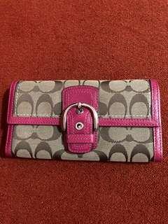 Coach Authentic Wallet Fuschia Pink color
