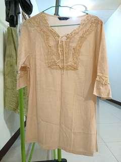 🚚 粉色日式麻紗上衣