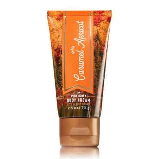 Bath & Body Works salted caramel apricot with pure honey body cream