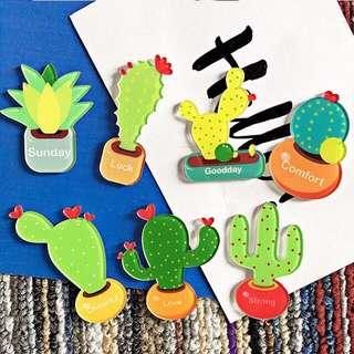 Acrylic cactus potting brooch badge cartoon pin