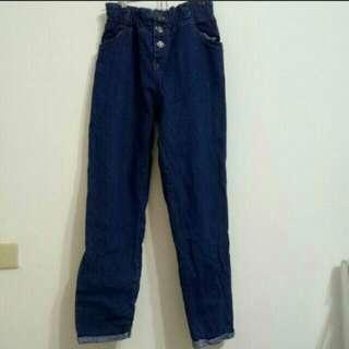 S. M🉑深藍高腰牛仔褲/顯瘦款