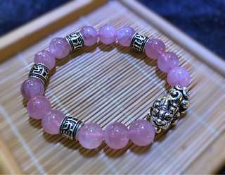 DIY Rose quartz bracelet with silver design 粉晶纯银修饰手串