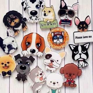 Acrylic puppy dog brooch enamel badge pin