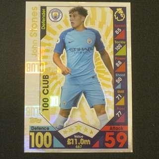 16/17 Match Attax 100 Club - John STONES #Manchester City 曼城