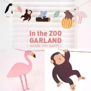 [FREE POSTAGE] Cute Zoo Safari Animals Birthday Party Bunting / Banner