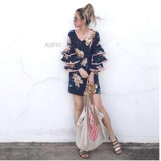 Tropical Floral V-neck Trumpet Sleeved Dress