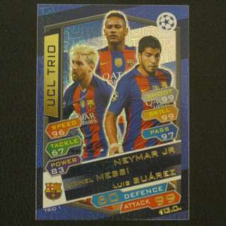 16/17 Match Attax Champions League UCL TRIO - NEYMAR / MESSI / SUAREZ #Barcelona