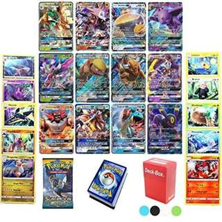 Pokemon TCG Guaranteed GX - Booster Pack - 50 Card Elite Trainer Kit Lot Free Deck Box - Holo Foil Rare Common Uncommon Random Bonus