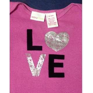 Preloved Baby Onesie - Amy Coe - LOVE - Size 3-6 months