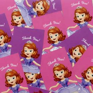 Sofia The First Party Favour Thank You Tags