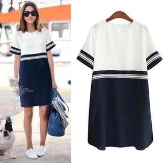 Stripe Cord Combined Dress