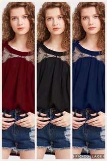 Ribbon cold shoulder blouse