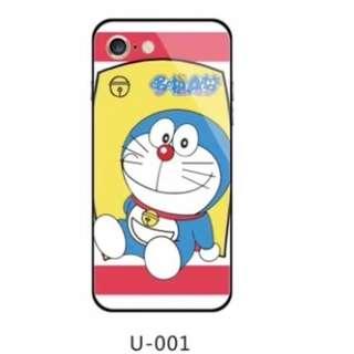 手機殼IPhone6/7/8/plus/X : 多啦A夢藍光全包黑邊玻璃背板殼