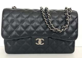 🌟 GOOD DEAL! LIKE NEW | Chanel Jumbo Black Caviar SHW #23 | db, box, booklet, card, holo,