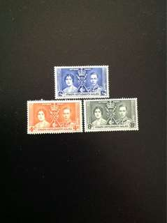 Malaya 1937 Coronation of King George VI and Queen Elizabeth 3V Set Mint (0425)