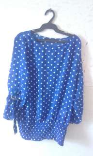 Blue Polka-dot Long sleeves